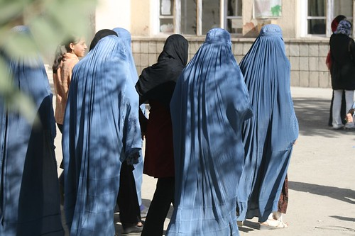Burqa clad Afghan Women voters queue up for voting in Afghanistan, Aug 09