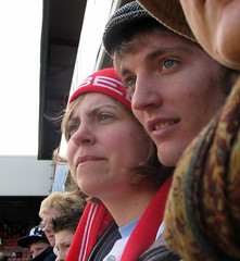 Brentford Fans - Apr 206 - Rhys & Michelle (Gareth1953 All Right Now) Tags: girls portrait beautiful scarf girlfriend candid bees profile sillyhat bobblehat canong3 youngwoman brentford footballfans griffinpark hartlepoolunited americanabroad brentfordfans
