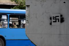 Svastica e Bus (bellimarco) Tags: blue color bus italia sofia blu hitler bulgaria marco belli marmo svastica razzismo nazismo