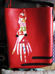 another vinyl squid tote (~aorta~) Tags: red bag ruffles vinyl numbers squid applique tote aorta didyouknowimonfacebook