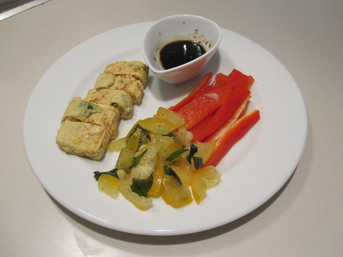 Leftover tamagoyaki, tomato salad and red bell pepper sticks