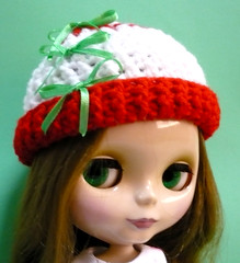 Crocheted Hat for Blythe - Colors of Christmas