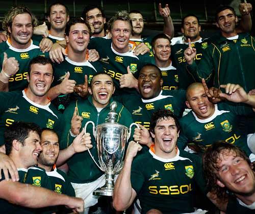 Il Sudafrica celebra la vittoria nel Tri Nations
