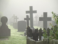 Crosses in the mist - St Oswalds Peover (i.helsby) Tags: mist church cheshire graves churchyard gravestones stoswalds lowerpeover cgth