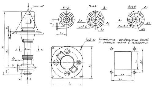 Габаритно-присоединительная характеристика насосов СДВ 160/45