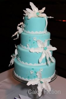 Tiffany Blue Wedding Cake with Gems and Magnolias