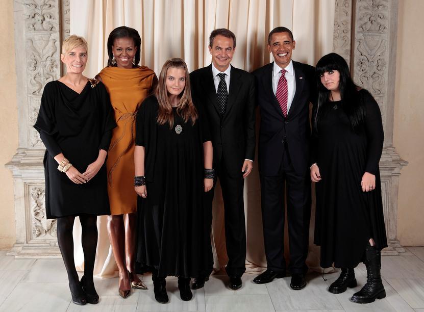 Obama con hijas de zapatero