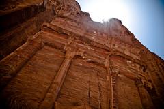 history in the rock (flamed) Tags: sun sunlight ancient ruins desert country petra middleeast jordan sunburst burst wadi 2009 biblical rockfrace