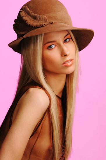 Colour Hats & Beauty in The Studio, Brown Hat, Pink Background
