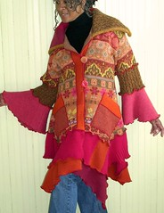 Pink and Orange Sweater Coat (brendaabdullah) Tags: pink orange fashion diy recycled oneofakind style etsy deconstruction reconstruction ecofriendly knitwear pieced sweatercoat restyled ecoconscious brendaabdullah