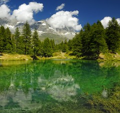 Blue Lake (Fabio Montalto) Tags: trees italy lake mountains reflections landscape photography nikond200 valdayas lagoblu nikfilters platinumheartaward colorefexpro30 capturenx2 wagman30 platinumbestshot