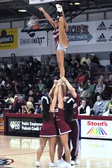Rider Cheerleading Squad (MNJSports) Tags: girls music men women uniform spirit crowd tricks gymnastics beat acrobatics toss cheers catch cheerleader ncaa broncos broncs stunt tumbling dribble divi stunts bloomers rebound collegebasketball participation jumpshot danceteam divisionii divisioni divii rideruniversity mensbasketball heelstretch teamsupport div1 westchesteruniversity goldenrams cheerdancer