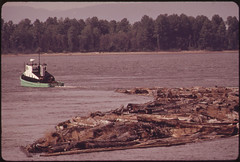 tug boat towing a large floating mass of wood and logs