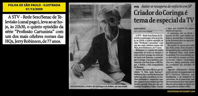 """""""Criador do Coringa é tema de especial da TV"""" - Folha de São Paulo - 01/12/2000"""