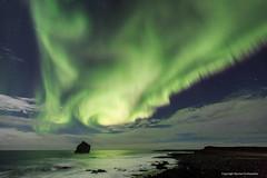 Reykjanes. (Kjartan Guðmundur) Tags: sea sky canon stars iceland nightscape ísland reykjanes northernlights auroraborealis norðurljós canonef1635mmf28liiusm canoneos5dmarkiii kjartanguðmundur