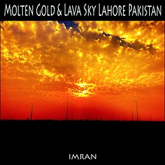 Molten Gold Clouds Flow Into Lava Sky In Lahore Pakistan - IMRAN™ (ImranAnwar) Tags: clouds gold horizon imran imrananwar iphone iphone7 lahore pakistan red silhouette sunset