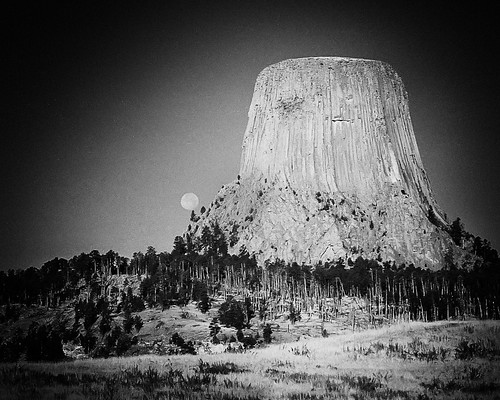 Devil's Tower National Monument, Wyoming. High ISO FILM - see the moon?!