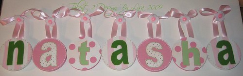 "NATASHA 5"" Round Custom Hand Painted Letters with Flower Push Pin Accents"