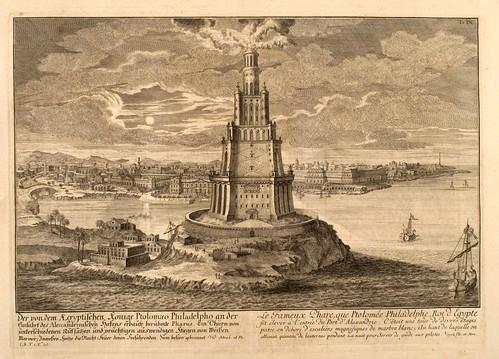 005- El Faro de Alejandria-Entwurf einer historischen Architektur 1721- © Universitätsbibliothek Heidelberg