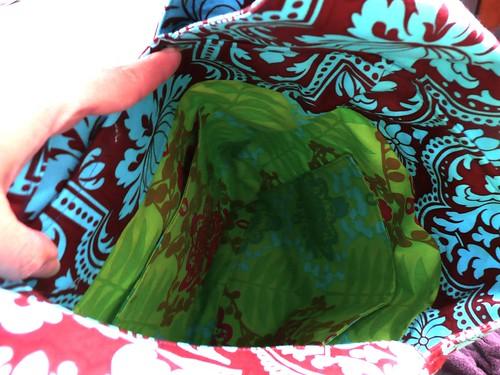 Green Birdie Sling Tote- Inside