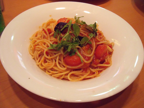 spaghetti with tomato sauce and aubergines