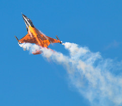 RNLAF Open Day 09 (archangel 12) Tags: nikon contrail display hawk smoke air harvard formation f16 solo hunter vulcan airforce f18 lucht viper saab f5 opendag brabant beech redarrows typhoon stunt uden airbase aerobatic aerobatics pyrotechnics volkel dc2 d300 mig29 patrullaaguila luchtmacht royalairforce alphajet patrouilledefrance formationflying fulcrum freedomfighter saab105 koninklijkeluchtmacht strikemaster nf5 turkishstars royaljordanianfalcons luchtmachtdagen vliegbasis nikon70300mmvr stuntteam nikond300 marcheverte