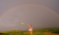19/365 ...It'll never get me over the rainbow (Katie Lionheart) Tags: girl sunshine rainbow colours dress balloon glowing thewizardofoz itllnevergetmeovertherainbow