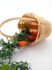 Carrot Basket (Shay Aaron) Tags: orange green miniature basket vegetable carrot veggie dollhouse