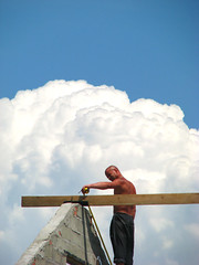 Hard work in Heaven (funtik.cat) Tags: roof sky man muscles clouds construction heaven ukraine tanned constructor seaofazov