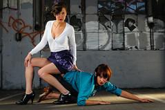 no matter how you worship (JonBauer) Tags: california hot sexy girl graffiti oakland chair nikon highheels dress garage danielle d300 humanfurniture strobist modelmayhem 2470mmf28g mm376641 heidirobinson