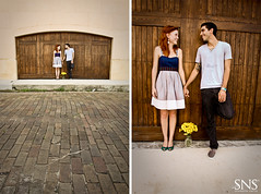 Brick Street Affair ({SNS Photography}) Tags: flowers wedding boy woman man love girl yellow daisies canon happy groom bride engagement couple bricks perspective romance brickstreet 50d orlandophotography snsphotography