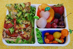 Pizza bento (sherimiya ) Tags: school fruits vegetables lunch kid healthy tomatoes peach pizza homemade bento bittermelon lychee obento peapods lavash sherimiya