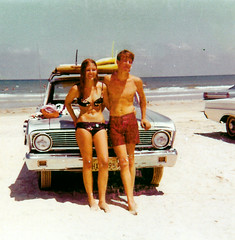 On the beach (wyoming99!) Tags: 1969 corpuschristi surfing bikini padreisland fordfalcon surfergirl
