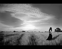 I Always Follow The Real Shadow (Drio Estrela) Tags: sunset shadow sky sun sol girl field clouds canon dark real women dress gothic follow pasto nuvens campo always algarve ceu folow 450d ilustrarportugal 1855is drioestrela