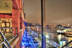 The South Street Seaport at night (Dave DiCello) Tags: nyc newyorkcity blue newyork brooklyn night photoshop lights nikon tripod southstreetseaport citylights hudsonriver nikkor bigapple newyorknewyork hdr highdynamicrange bigcity cs4 thebigapple photomatix d40 tonemapped timessquarenewyork d40x evad310 davedicello