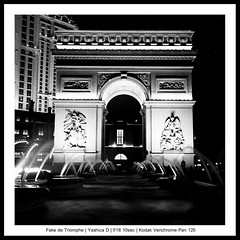 Fake De Triomphe (Bright Lights, Vegas Nights) Tags: paris 120 6x6 tlr film night mediumformat square lasvegas twinlensreflex yashicad lasvegasstrip kodakverichromepan kodakverichromepan120