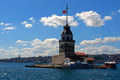 Maiden's Tower / Kz Kulesi (Senol Demir) Tags: maidentower kzkulesi tower istanbul sea marmara travel turistical ehir trkiye turkiye turkey tekne tarihi mimari manzara landscape island interesting historical grouptripod goldenphotographer gezi fotogezgin flickrrose flickrlovers flickrdiamond deniz culture city cloud bulut building boazii boaz bosphorus bogazici beatiful architecture seaside sahil day cloudy blue mavi sky gkyz