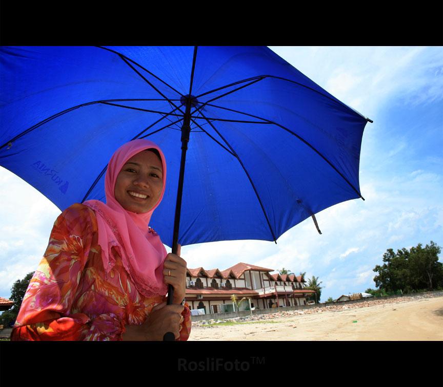 She & A Blue Umbrella