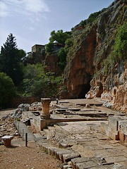 Remnants of the Temple of Pan with Pan's cave in the background (Gugganij / Wikimedia)