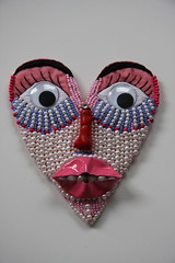 (Pepa Amenabar) Tags: thread face necklace beads eyes kiss heart mask handmade embroidery unique felt pearls strass newjewelry contemporaryjewellery contemporaryjewelry pepaamenabar newjewellery newcollection2009