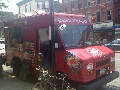 The Rickshaw Nice Dumplings van is in Park Slope, hoorah!