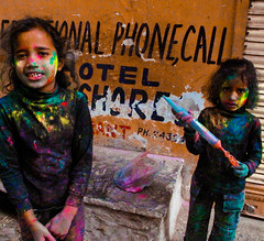 Holi Girls (Ell.Ee) Tags: trip travel girls india game colour fun toy call paint phone shy backpacking stare holi udaipur