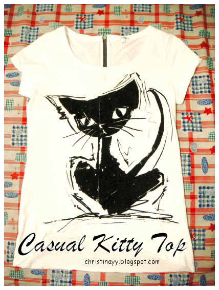 Shopping Items: Casual Black & White Kitty Top