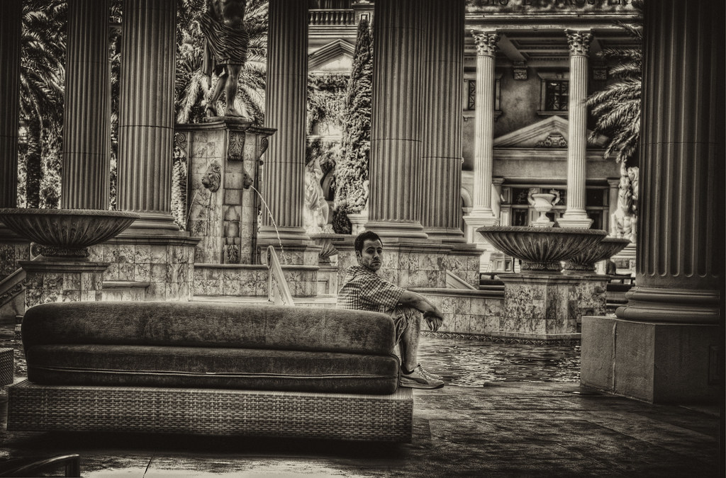 Joel chills at the pool in Caesar's Palace.