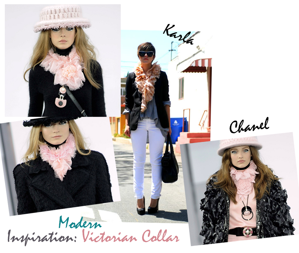 modern-victorian-collar-scarf-DIY-inspiration, karla's closet, chanel, chanel 2009 runway, pink fluffy collars