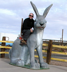 Me on a 10 foot tall rabbit at the Jack Rabbit Trading Post, Joseph City, Arizona