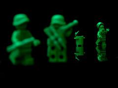 "Depth Perception   Part 2/2 (Joriel ""Joz"" Jimenez) Tags: toy dof lego toystory soldiers minifigs armymen onblack depthperception spotfocus minifigures 7575 disneypixar brickarms toysonblack"