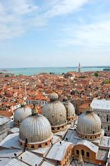 St Mark's Basilica, Venice (KatieHarker) Tags: italy rooftop church italian rooftops cathedral aerialview bluesky dome venetian domes venezia domed venetianarchitecture