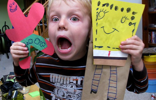 Homemade SpongeBob & Patrick puppets