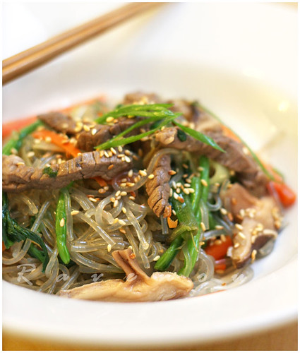 japchae, chapchae, korean stir fried noodles, clear noodles